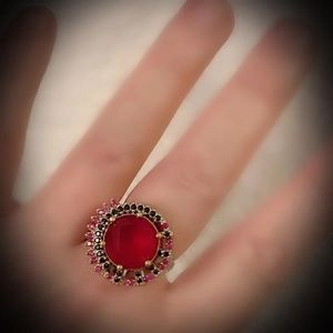 Love & Intuition Red Ruby Sapphire Silver Ring 925